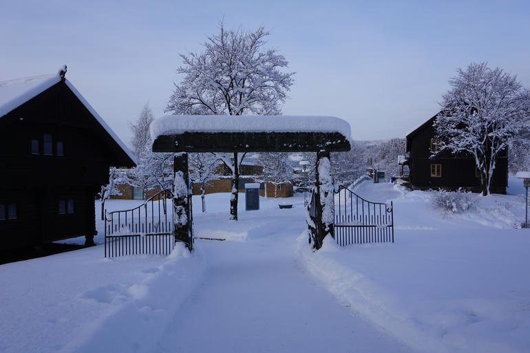The gate to Campus at Storhove in Winter time.