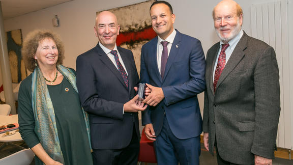 Victoria W. Thoresen, Declan Doyle, the Prime Minister of Ireland, Leo Varadkar and Prof. Dr. Heiko Steffens are visiting the Institute of Technology Carlow to present Declan with the TOPACE award.