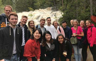 Anne Anker Bolstad with international students on a nature trip.
